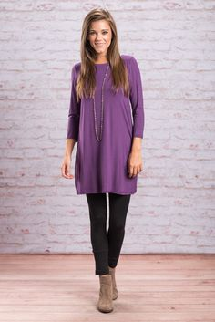 """""""Sweet Dreams Tunic, Purple""""STOP WHATEVER YOU'RE DOING! Yes, even if you're taking a selfie! We promise this announcement is much more important! We have found the PERFECT simple fall tunic! #newarrivals #shopthemint"""