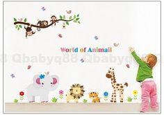Animal world monkey tree branch Wall decals Removable stickers kids nursery decor