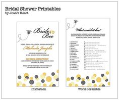 Bride to Bee Beethemed Bridal Shower Printable by joansheart, $32.00