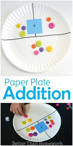 Make a simple DIY paper plate addition game to help your child practice their addition and even subtraction skills kindergarten Paper Plate Addition Game Preschool Learning, Kindergarten Activities, Teaching Math, Preschool Activities, Kindergarten Addition, Teaching Addition, Addition Activities, Activities For 5 Year Olds, Kindergarten Smorgasboard