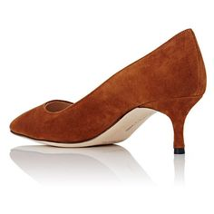 Manolo Blahnik Women's BB Pumps (7 705 ZAR) ❤ liked on Polyvore featuring shoes, pumps, brown pointed toe pumps, kitten heel shoes, manolo blahnik shoes, brown slip on shoes and brown suede shoes