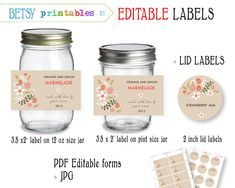 Labels for canning - Jar labels - Mason Jar lid labels - PDF editable & JPG -  Instant Download 211