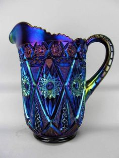 Imperial Glass Electric Purple Carnival Glass Pitcher Diamond Lace Pattern