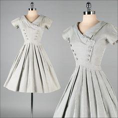 Vintage 1950s Black & White Checked Dress