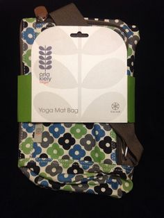 Orla Kiely Yoga Mat Bag Apple Abacus Black White Green Blue NWT Tote Sport Gaiam