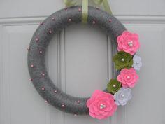 Yarn Wreath Pink Green White