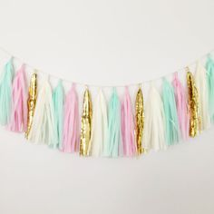 Mint Green, Pink, and Gold Tassel Garland - Party Decor, Wedding Decor, Birthday Party, Nursery, Baby Shower and Party Decoration on Etsy, $28.00