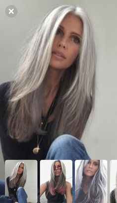 Grey Hair Wig, Long Gray Hair, Emo Hair, Grey Hair Looks, Grey Hair Inspiration, Cheap Lace Front Wigs, Pelo Natural, Silky Hair, Great Hair