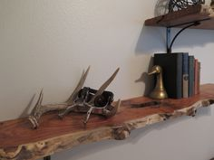 Rustic nursery: Raw edge mesquite shelves custom cut