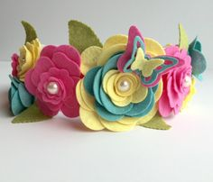 Felt Flower Crown Felt Flower Headband Felt by UponAStarBowtique