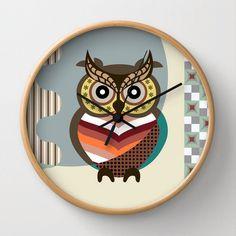 vintage 70s 80s quartz modern retro owl home decor wall clock