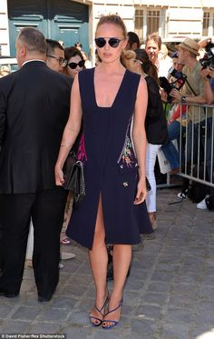 Brit invasion:English actress Laura Haddock also went for florals as she arrived for the ...