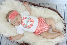 f6cc0d5fc Coral & Teal Personalized Baby Girl Clothes Diaper Cover & Bodysuit Gift  Set Newborn Hospital Outfits