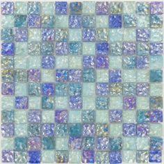 "Ripple Aquatic 1"" x 1"" Blue/Green Glossy Glass Tile"