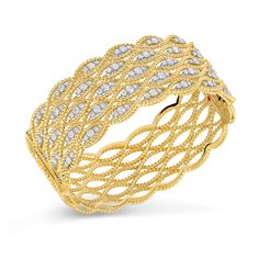 Roberto Coin 5 Row Bangle with Diamonds. 18kt Gold Approx. 3.15 total carat weight 48x58mm