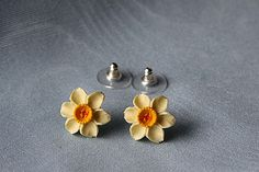 Daffodil Earrings Dropper Earrings by Good Intentions, the perfect gift for Explore more unique gifts in our curated marketplace. National Flower Of Wales, Saint David's Day, Jewelry Box, Jewellery, Daffodils, Lapel Pins, Mother Day Gifts, Unique Gifts, Stud Earrings