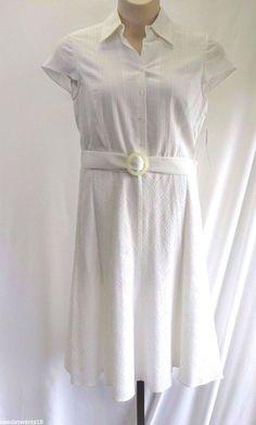 Antonio Melani Shirt Dress White Belted Cap Sleeve Women's Size 10 NWT $149 #AntonioMelani #ShirtDress