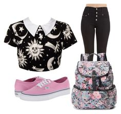"""""""First Day of School Outfit #3"""" by ceceeo2l ❤ liked on Polyvore featuring Kill Star, Candie's, Vans, floral, croptop, vans and highwaistedjeans"""