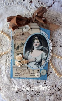 Blue Rhapsody HANDMADE  Collage Tag with paper by sugarlumpstudios