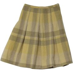 60s Vintage Garland Wool Skirt: 60s -Garland- Womens butter yellow,... ($18) ❤ liked on Polyvore featuring skirts, bottoms, champagne skirt, zipper skirt, yellow plaid skirt, box pleat skirt and wool plaid skirt