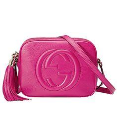 0c73984af88 GUCCI Soho Magenta Pink Leather Disco Cross-Body Shoulder Bag 308364
