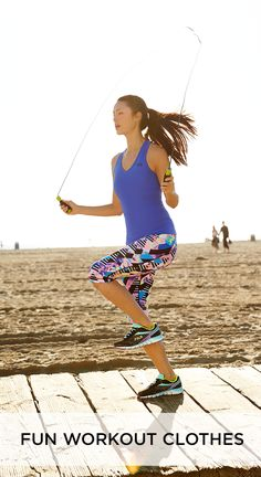 Cute workout gear paired with the perfect workout makes us jump for joy. Jumping rope is one of our favorite ways to torch calories practically anywhere. Always on the go? Keep a jump rope and your favorite workout clothes from Kohl's in your car and pack one when you travel to keep fitness at your fingertips. (And don't forget to check out our fitted workout gear that won't interfere with the rope or get in your way, whatever your favorite workout is.)