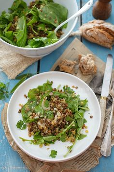 lentil salad with arugula Cooking Recipes, Healthy Recipes, Happy Foods, Food Design, Soup And Salad, No Cook Meals, Food Inspiration, Love Food, Salad Recipes