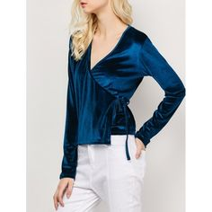 14.32$  Watch now - http://dix8b.justgood.pw/go.php?t=203693508 - Long Sleeved Velvet Wrap Top