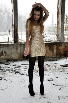 gold sequin sheath mini dress, black tights and shoes