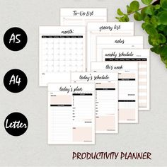 Daily Planner Printable Inserts, Ultimate Productivity Bundle, Weekly Planner, Agenda, Filofax A5, A4, Letter, Notebook, Planner Binder Page