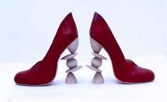 Part of my wood turned collection. Bruce Pratt fabricated my heel design