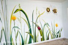 Easy Playroom Mural Design Ideas For Kids 48 Playroom Mural, Kids Wall Murals, Bedroom Murals, Playroom Design, Kids Room Design, Kid Playroom, Mural Painting, Mural Art, Garden Mural