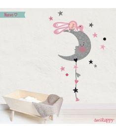 Vinilo infantil dormido en la luna estilo nórdico rosa