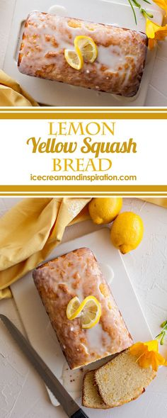 Lemon Yellow Squash Bread - Beautiful Life and Home - Super moist Lemon Yellow Squash Bread is made with fresh lemon juice and zest and healthy yellow squash from your garden! The perfect way to sneak veggies into dessert! Breakfast Appetizers, Breakfast Dessert, Breakfast Recipes, Dessert Recipes, Recipes Dinner, Breakfast Ideas, Pavlova, Summer Squash Recipes, Recipes For Yellow Squash