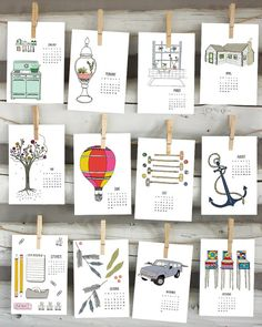 Sloe Gin Fizz 2014 calendar - illustrated wall calendar http://craftysupermarket.wordpress.com/2013-holiday-crafters/