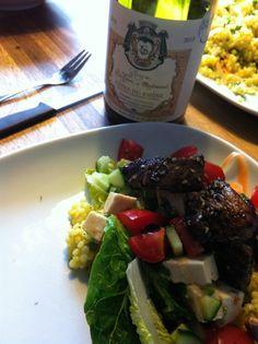 Parelcouscous salade en een goede Viognier