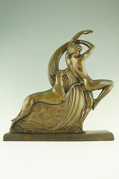 Art Deco bronze nude dancer with borzoi by A.R. Philippe