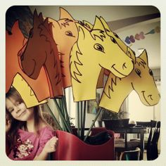 Horses / cowboys / indians kids birthday party. Each kid gets to color or decorate their own.
