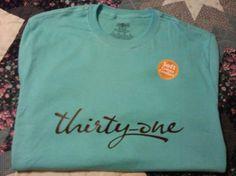 $7.15 New Thirty One Gifts Chocolate On Aqua T - Shirt Vinyl Art Logo + .99 s/h