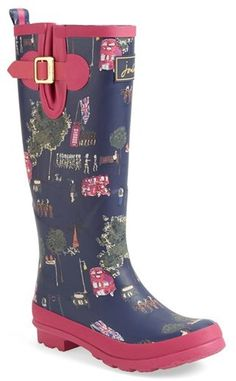Joules Print Welly Rain Boot (Women)
