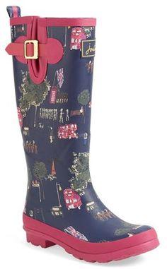 Joules Print Welly Rain Boot (Women)