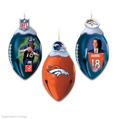 First-ever! Football-shaped real metal jingle bells celebrate the Broncos with vivid player art, team colors, logos and sculpted toppers. Sets of 3.