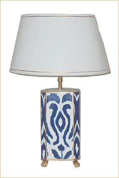 Dana Gibson Navy Ikat Lamp:  Indigo and/or navy seem to be the most popular colors for ikat, and this beautiful hand painted tole lamp shade is no exception. Featuring gold claw feet and trim, measuring 26