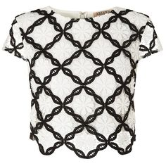 Ariana Grande For Lipsy Lace Co-ord Crop Top ($21) ❤ liked on Polyvore featuring tops, shirts, crop top, blusas, white lace top, white lace shirt, white shirt and white crop top