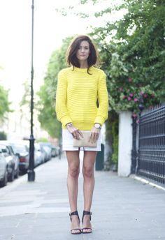 Shop this look on Kaleidoscope (sweater, miniskirt, clutch, flat, watch)  http://kalei.do/W6cnBMZ9s3Q6YtEm