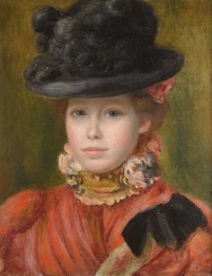 Pierre-Auguste Renoir - Jeune fille au chapeau noir à fleurs rouges