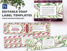 Ad: Soap label template by AIW SOLUTIONS on Must have a working knowledge of Photoshop in order to use these templates. Video – How to edit the Photoshop template What's Included in Lip Balm Labels, Soap Labels, Candle Labels, Stationery Templates, Label Templates, Design Templates, Templates Free, Label Art, Cosmetic Labels