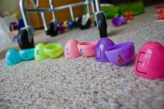 Learning letters (This is probably a good idea for learning colors as well... put the egg halves in a box and let her find which ones go together. @Heather Yancey