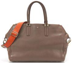 ANYA HINDMARCH Dark Gray Leather Orange Strap Ebury Sachel Bag #AnyaHindmarch #Satchel