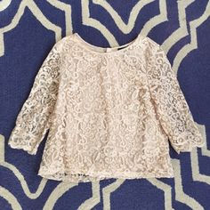 H&M off white lace crop sleeve top H&M off white lace crop sleeve top. See through sleeve with button detail closures on the back. H&M Tops